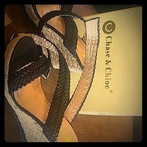 Chase & Chloe black wedge sandals